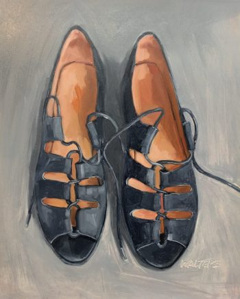 Blue Shoes by Marlene Walters. (Oil Still Life Painting)