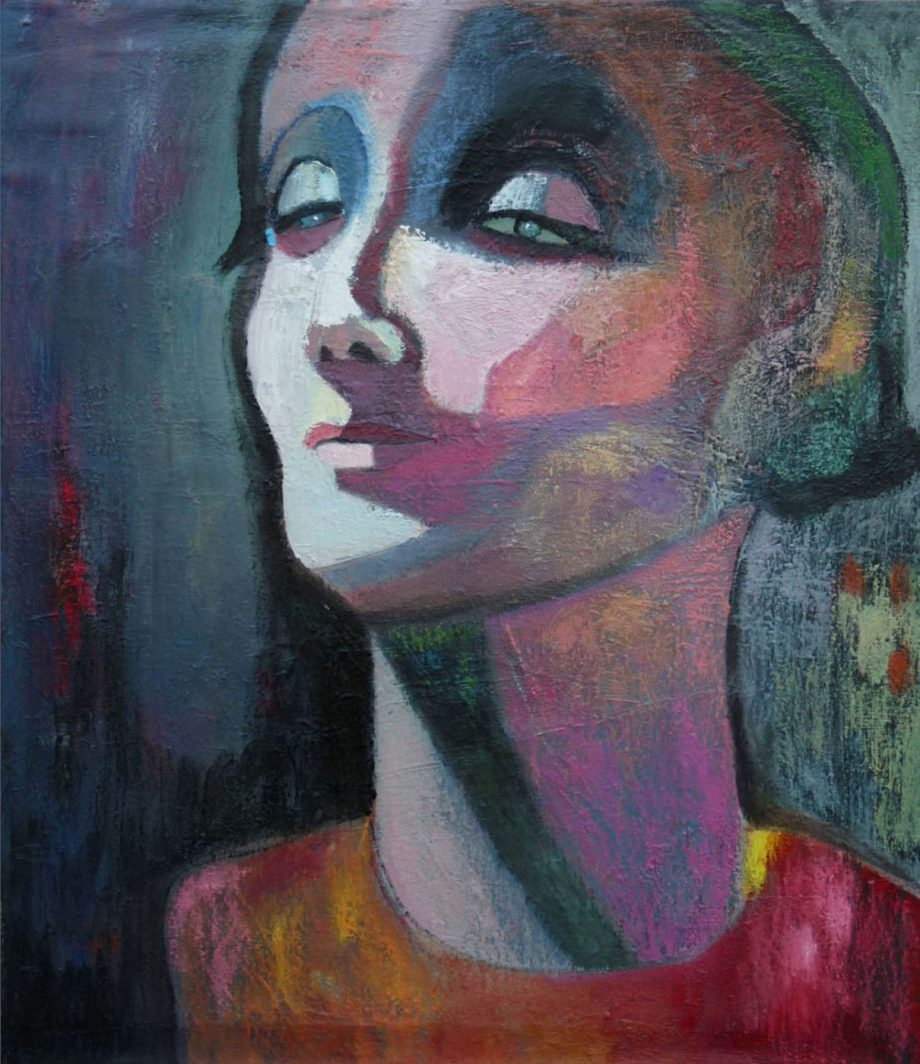 Carolyn Schlam, Contemplation, Oil on canvas, 36 x 36 inches