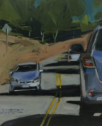Driving on Grizzly by Marlene Walters. (Representative Oil Painting)