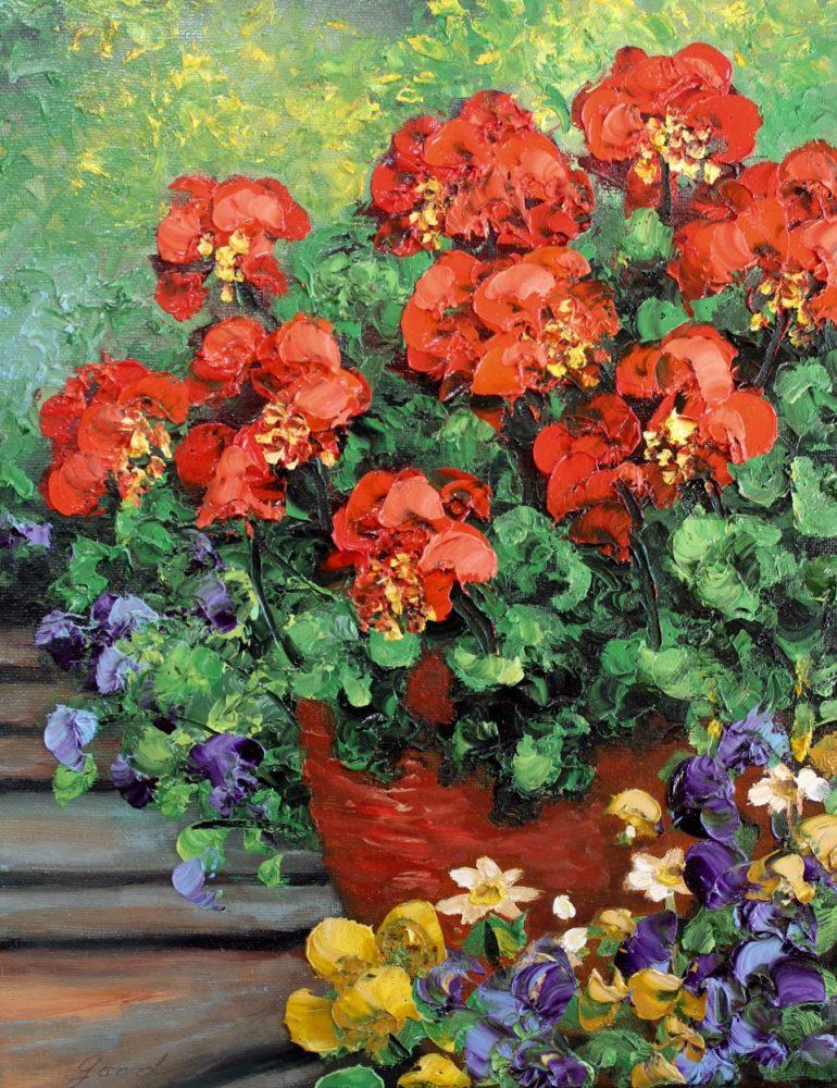 Geranium Flower Pot by Anna Good. (Oil Still Life Painting)