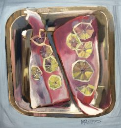 Halibut for Dinner by Marlene Walters. (Oil Still Life Painting)