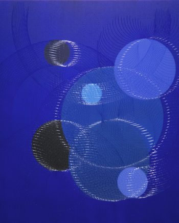 Indigo Space (61603) by James Minden. (Abstract Mixed Media Painting)