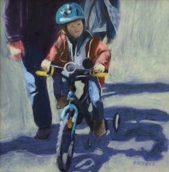 Learning to Ride by Marlene Walters. (Representative Oil Painting)