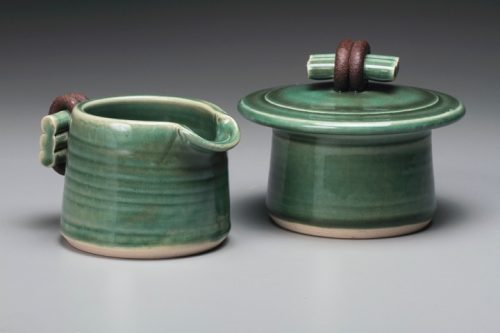 Creamer & Sugar by Jan Schachter. (Stoneware Porcelain Vessel)