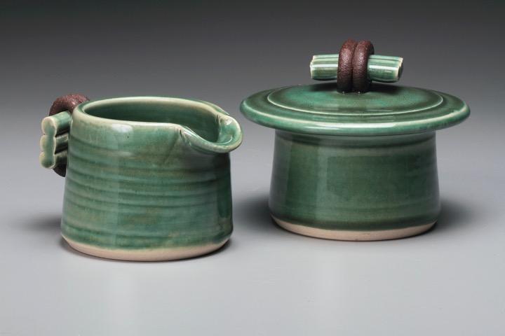Creamer & Sugar by Jan Schachter. (Stoneware Porcelain Vessel)