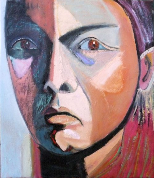 Native American by Carolyn Schlam. (Figurative Mixed Media Painting)