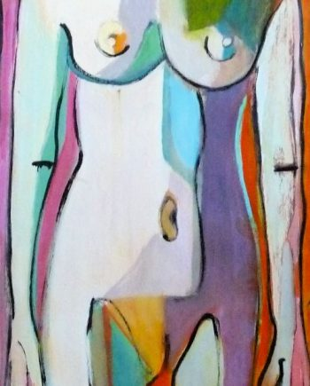 Standing Nude by Carolyn Schlam. (Figurative Oil Painting)
