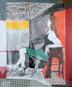 The Art Studio by Carolyn Schlam. (Figurative Mixed Media Painting)