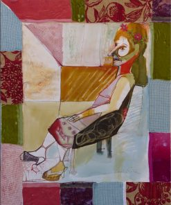 Woman in a Web by Carolyn Schlam. (Figurative Mixed Media Painting)