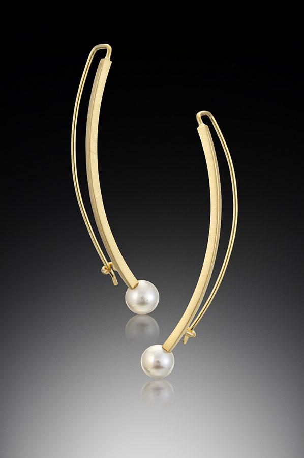 18k Gold Face Framer Earrings by Ilene Schwartz. (Hand-made gold Earrings)