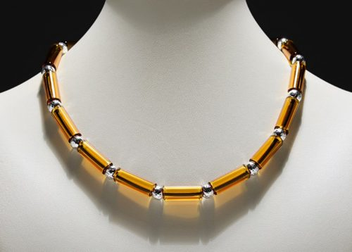 Amber Tube Bead Necklace by Eloise Cotton. (Hand-made Borosilicate glass Necklace)