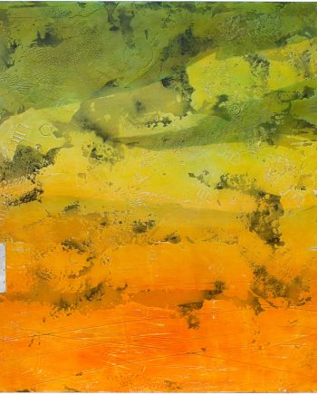 Aegean Golden Hour Fresco by Helene Steene. (Abstract Mixed Media Painting)