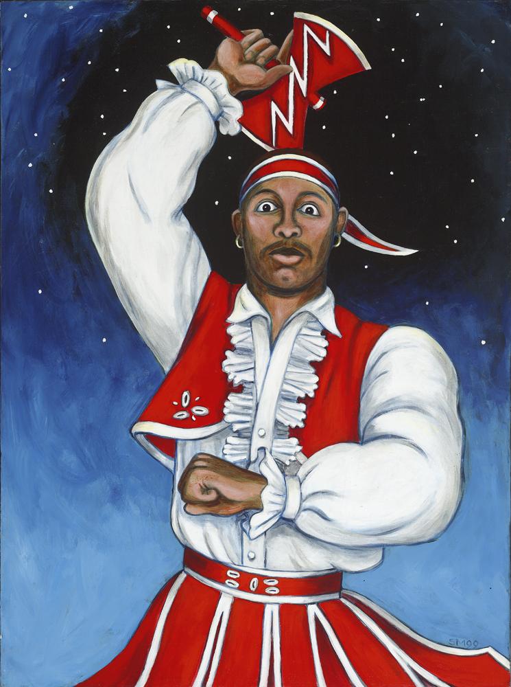 Barroso Dances Chango by Sue Matthews. (Folk Painting of Cuba)