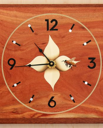 Bee on Flower Clock by Matthew Werner. (Hand-made Wooden Clock)