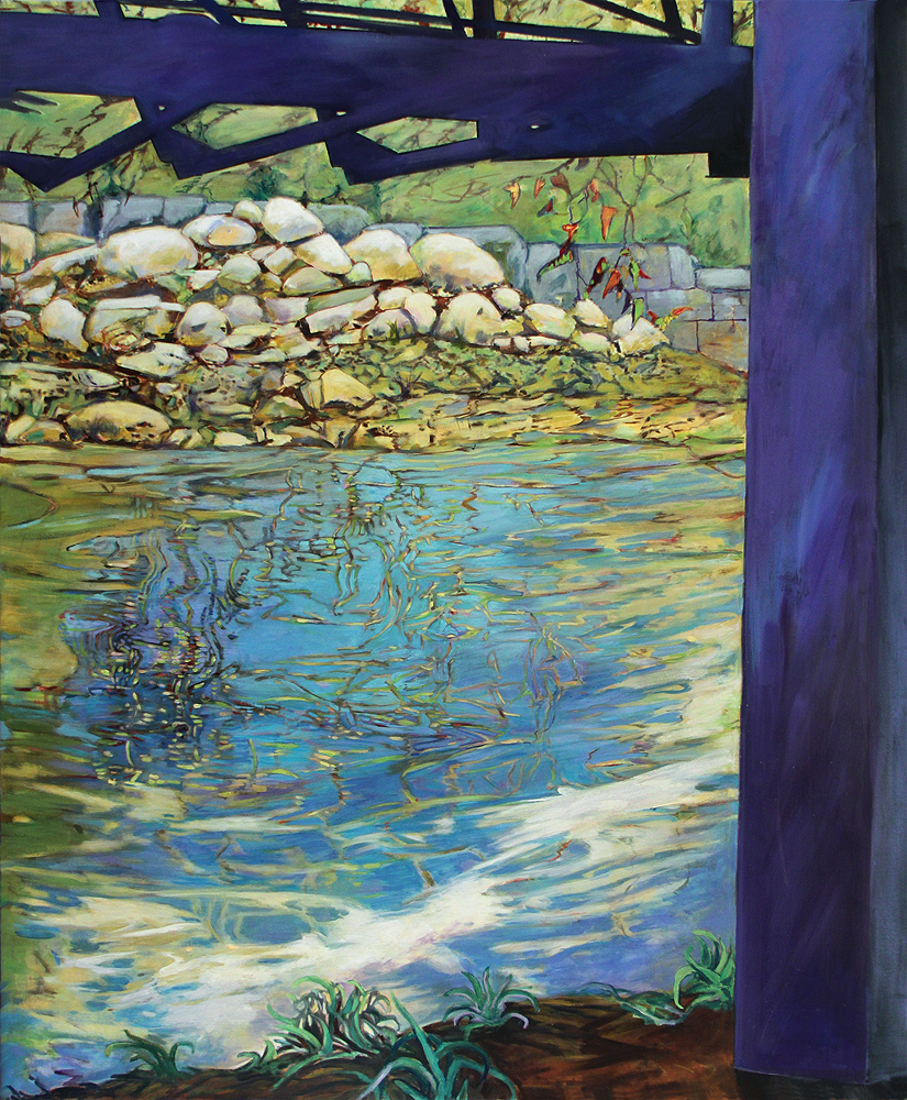 Beneath Bagby II - Summer Reflections by c. ellen hart. (Abstract Mixed Media Painting)