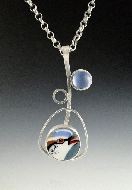 Bird Tree Necklace by Amy Faust. (Hand-made Silver Necklace)