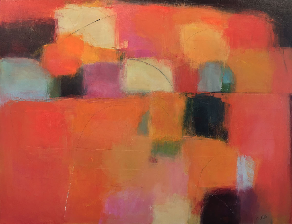 Orange (61602) by Carolyn Cole. (Abstract Mixed Media Painting)