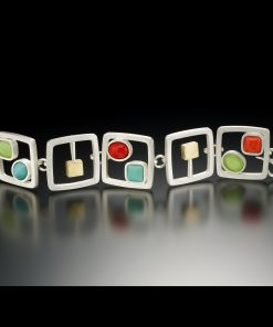 Cabs and Cubes Bracelet by Amy Faust. (Hand-made Silver Bracelet)