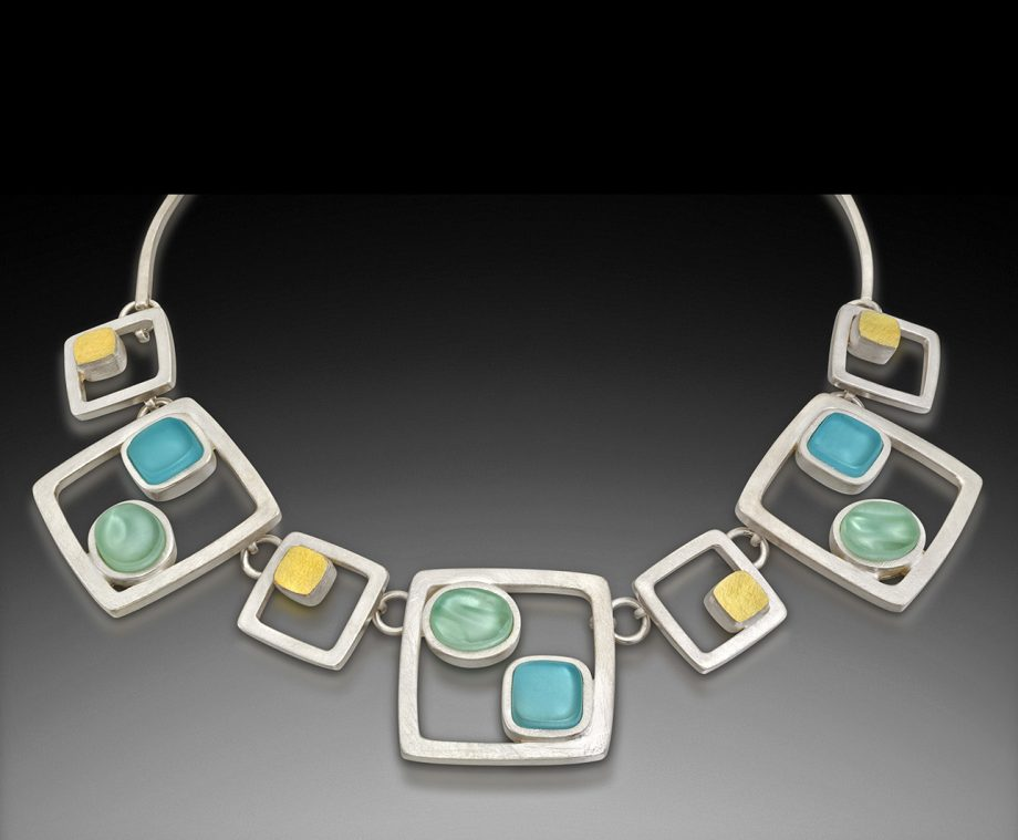 Cabs and Cubes Necklace by Amy Faust. (Hand-made Silver Necklace)