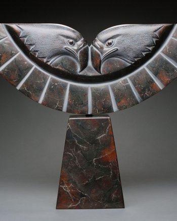 Double Eagle by Dahrl Thomson. (Metal Eagle Sculpture)