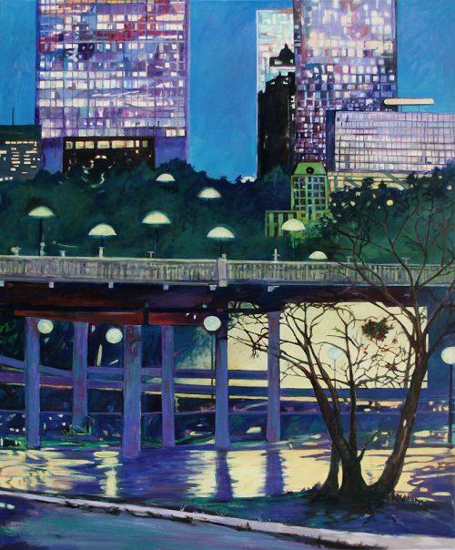 Evening at Sabine Bridge by c. ellen hart. (Oil Painting)
