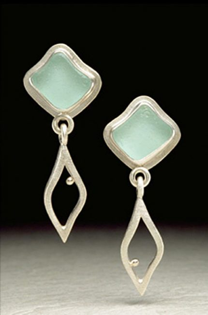 Flower and Leaf Dangle Earrings by Amy Faust. (Hand-made Silver Earrings)