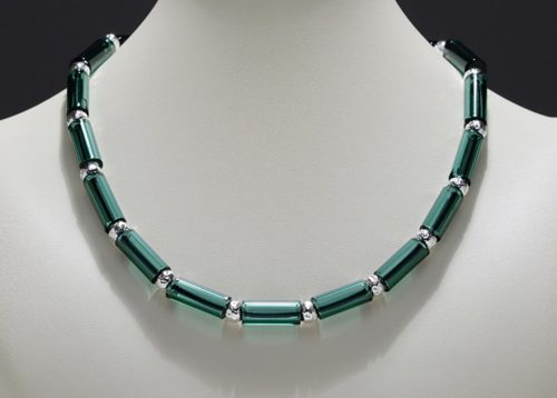 Lake Green Tube Bead Necklace by Eloise Cotton. (Hand-made Borosilicate glass Necklace)