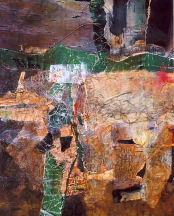 Hanging by a Thread by Stella St.Pierre White. (Abstract Mixed Media Painting)