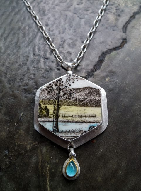 Hexagonal Clean Water Meadow Necklace by Amy Faust. (Hand-made Silver Necklace)