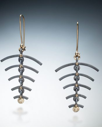 Leaf Spine Earrings by Ilene Schwartz. (Hand-made Silver Earrings)
