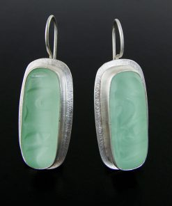 Long Rectangle Coke Bottle Earring by Amy Faust. (Hand-made Silver Earrings)