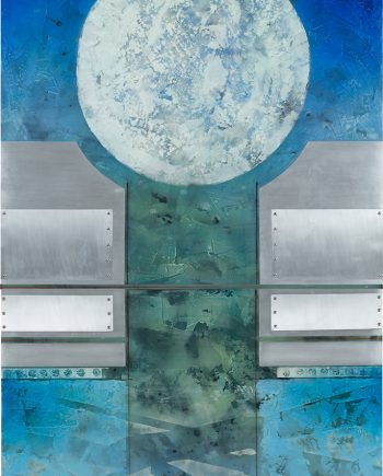 Moon Sentinel I by Helene Steene. (Abstract Mixed Media Painting)