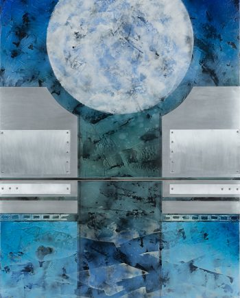 Moon Sentinel II by Helene Steene. (Abstract Mixed Media Painting)