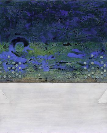 Paros Blues Fresco by Helene Steene. (Abstract Mixed Media Painting)