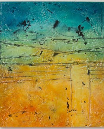Paros Morning Fresco by Helene Steene. (Abstract Mixed Media Painting)