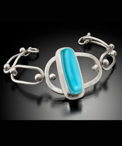 Retro Oval Bracelet by Amy Faust. (Hand-made Silver Necklace)