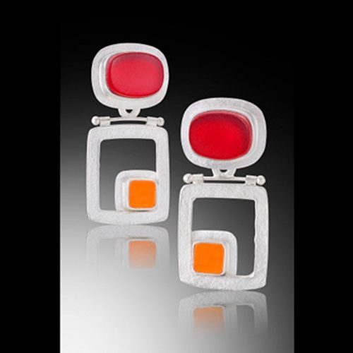 Retro Squares Hinged Earrings by Amy Faust. (Hand-made Silver Earrings)