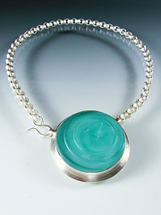 Round Vintage Glass Choker Necklace by Amy Faust. (Hand-made Silver Necklace)