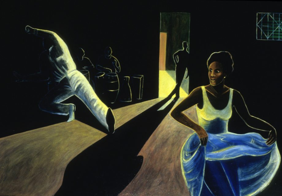Rumba de Noche by Sue Matthews. (Folk Painting of Cuba)
