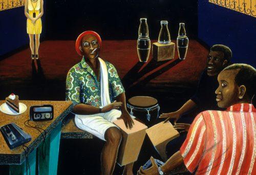 Rumba en La ENA by Sue Matthews. (Folk Painting of Cuba)