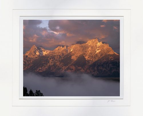 Stormy Sunrise Teton Range - matted by John Barger. (Landscape Photography)
