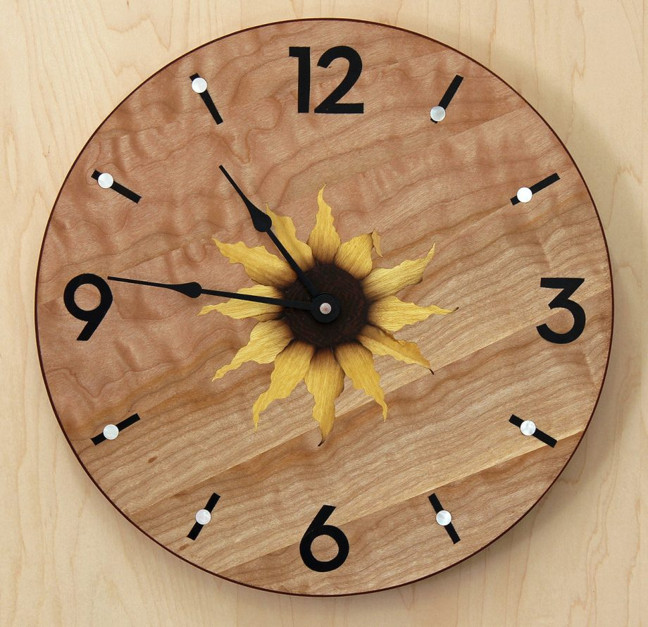 Sunflower Clock, Round by Matthew Werner. (Hand-made Wooden Clock)