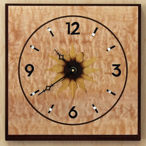 Sunflower Clock, Square by Matthew Werner. (Hand-made Wooden Clock)