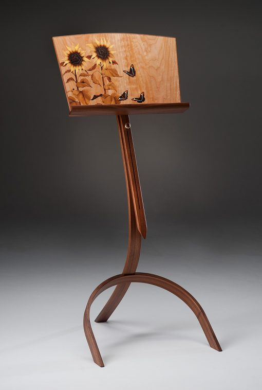Sunflowers & Sisters Music Stand by Matthew Werner. (Hand-made Wooden Clock)