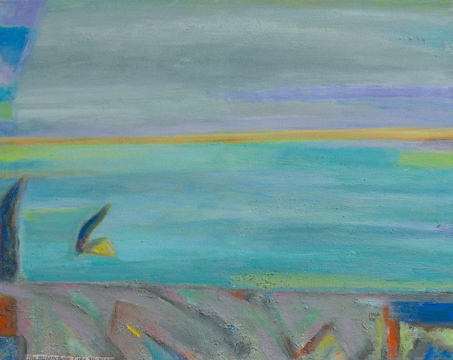 The Melancholic Lake Michigan by Itala Langmar. (Abstract Acrylic Painting)