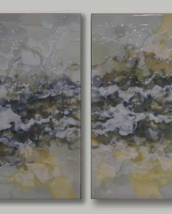 Turbulence 5 a&b diptych by Ken Sloan. (Abstract Epoxy Resin Painting)
