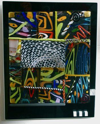 Untitled (black & clear) by Pizzichillo & Gordon Glass. (Art Glass Wall Sculpture)