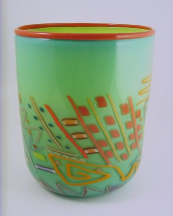 Wide Cylinder Seafoam by Pizzichillo & Gordon Glass. (Art Glass Vase)
