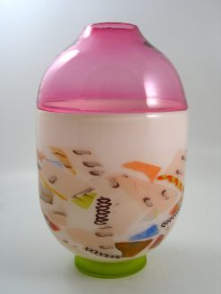 Incalmo Vase Ivory/Raspberry by Pizzichillo & Gordon Glass. (Art Glass Vase)
