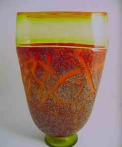 Incalmo Vase Peach/Citrine Crackle by Pizzichillo & Gordon Glass. (Art Glass Vase)